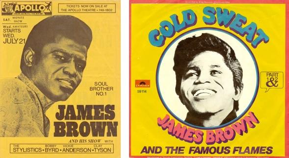 cold sweat, James Brown poster & album art.