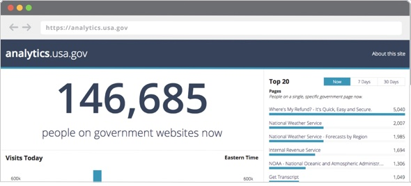 screenshot analytics.usa.gov