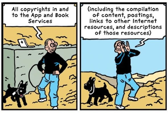 R Sikoryak turns Apple's terms & conditions into a parody of Hergé's Adventures of Tintin.
