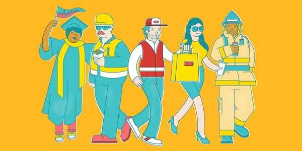 Familiar New York characters illustrated by Emile Holmewood of design agency BloodBros.