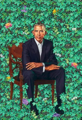 Kehinde Wiley's contemporay portrait of Barack Obama<