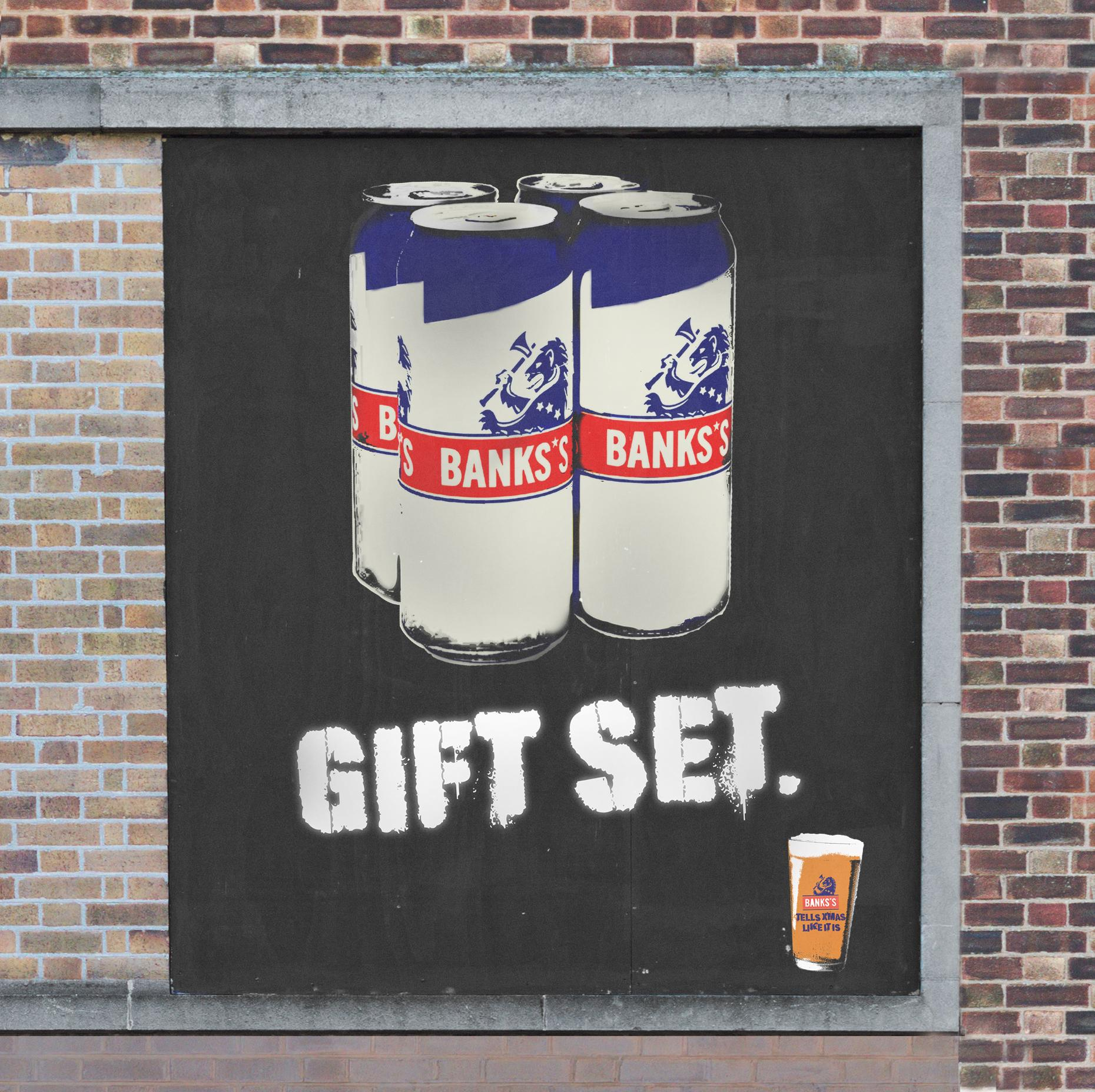 OOH Gift set ad for Banks beer