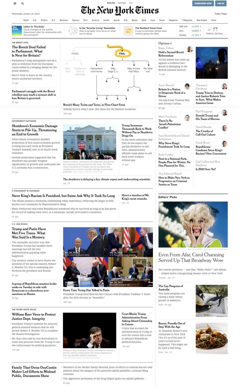 NYTimes digitale Ausgabe neben der Papierausgabe gleichen Datums.